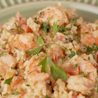 arroz cremoso com camarão