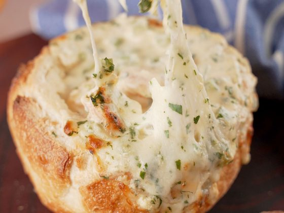 receita de camarão no pão italiano