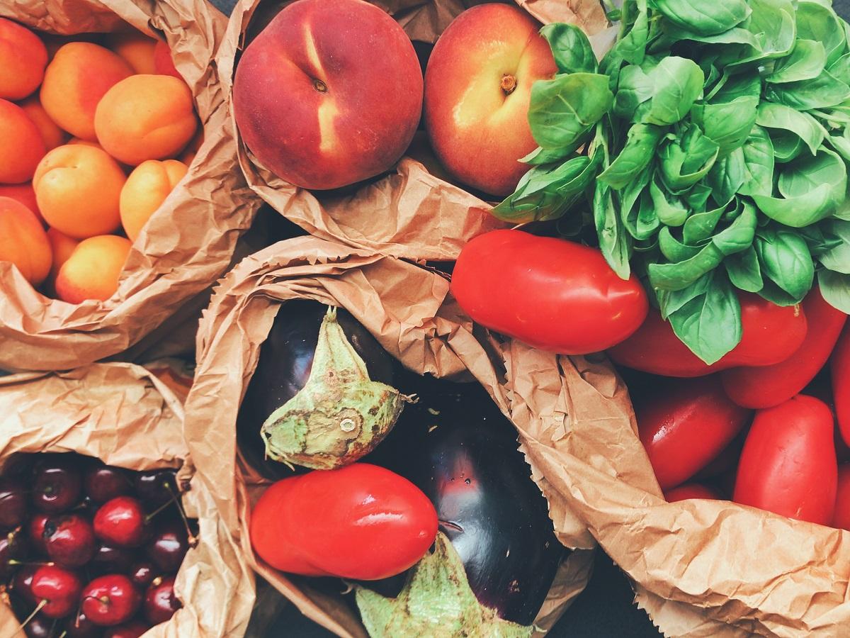 alimentos de um hortifruti orgânico